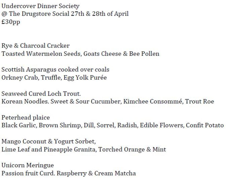 Undercover Dinner Society menu